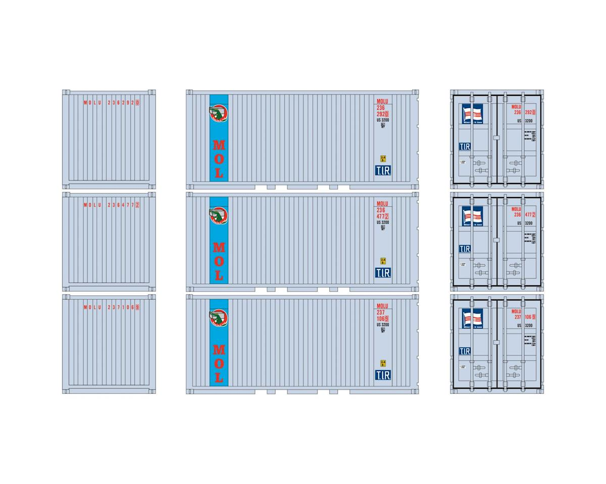Athearn HO RTR 20' Corrugated Container w/Panel, MOLU (3)