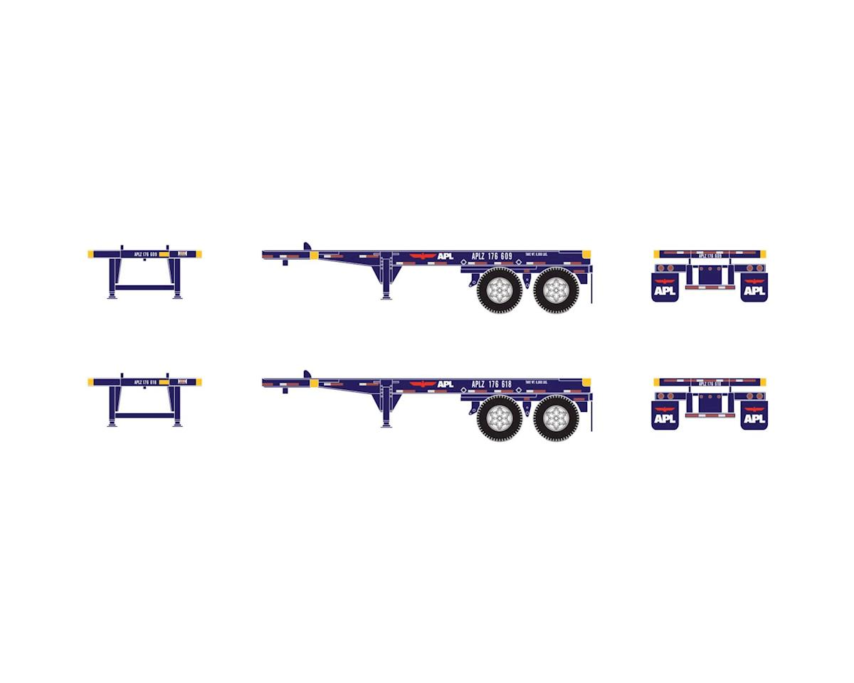 Athearn HO RTR 20' Container Chassis, APL (2)