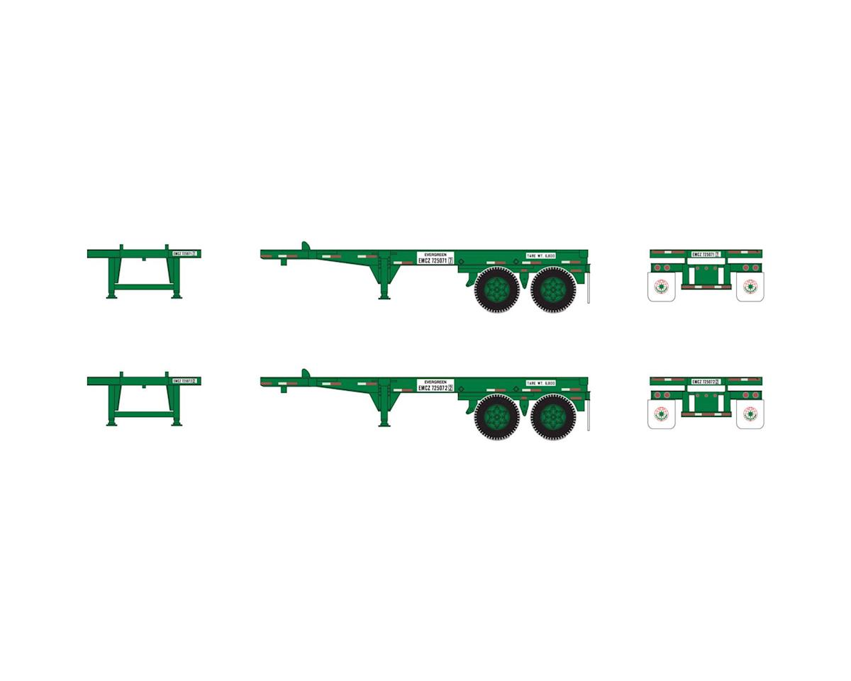 Athearn HO RTR 20' Container Chassis, Evergreen (2)