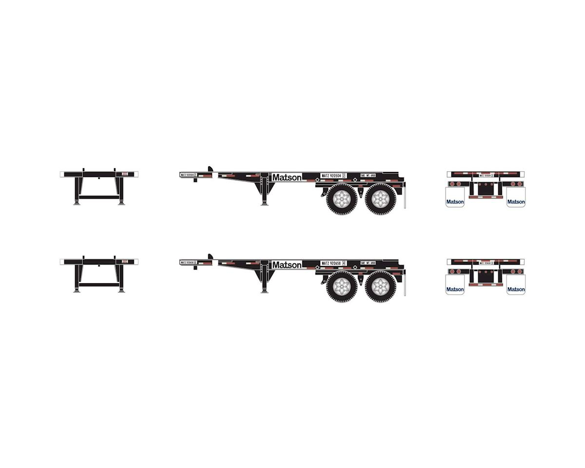 Athearn HO RTR 20' Container Chassis, Matson (2)