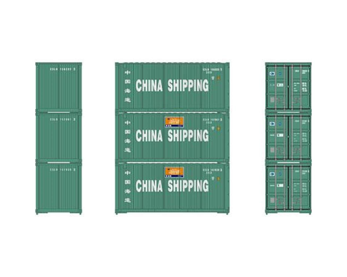 Athearn HO RTR 20' Bevel Container, China Shipping (3)