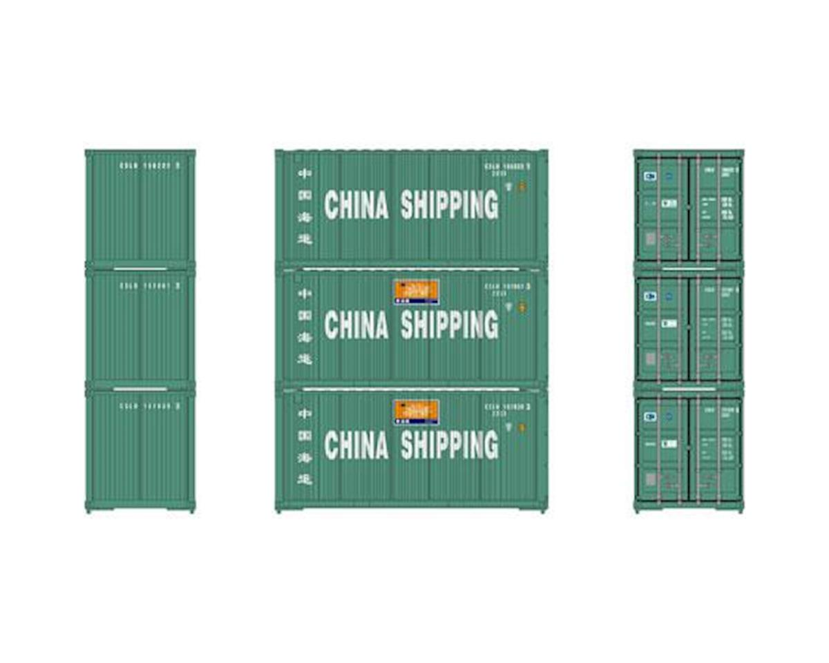 HO RTR 20' Bevel Container, China Shipping (3) by Athearn