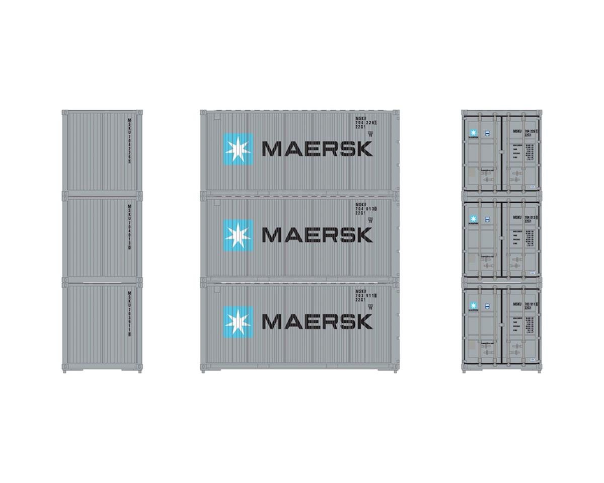 Athearn HO RTR 20' Bevel Container, Maersk (3)