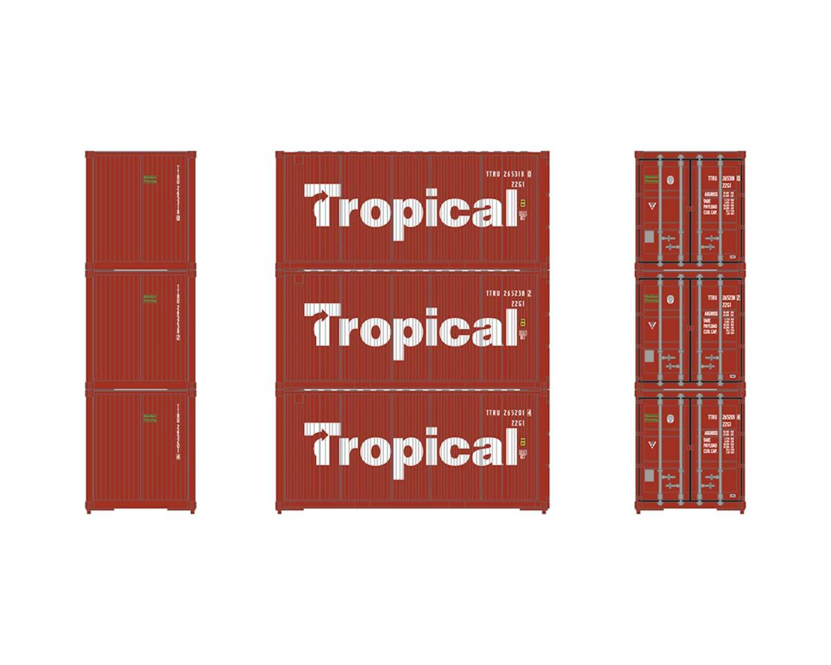 HO RTR 20' Bevel Container, Tropical (3) by Athearn