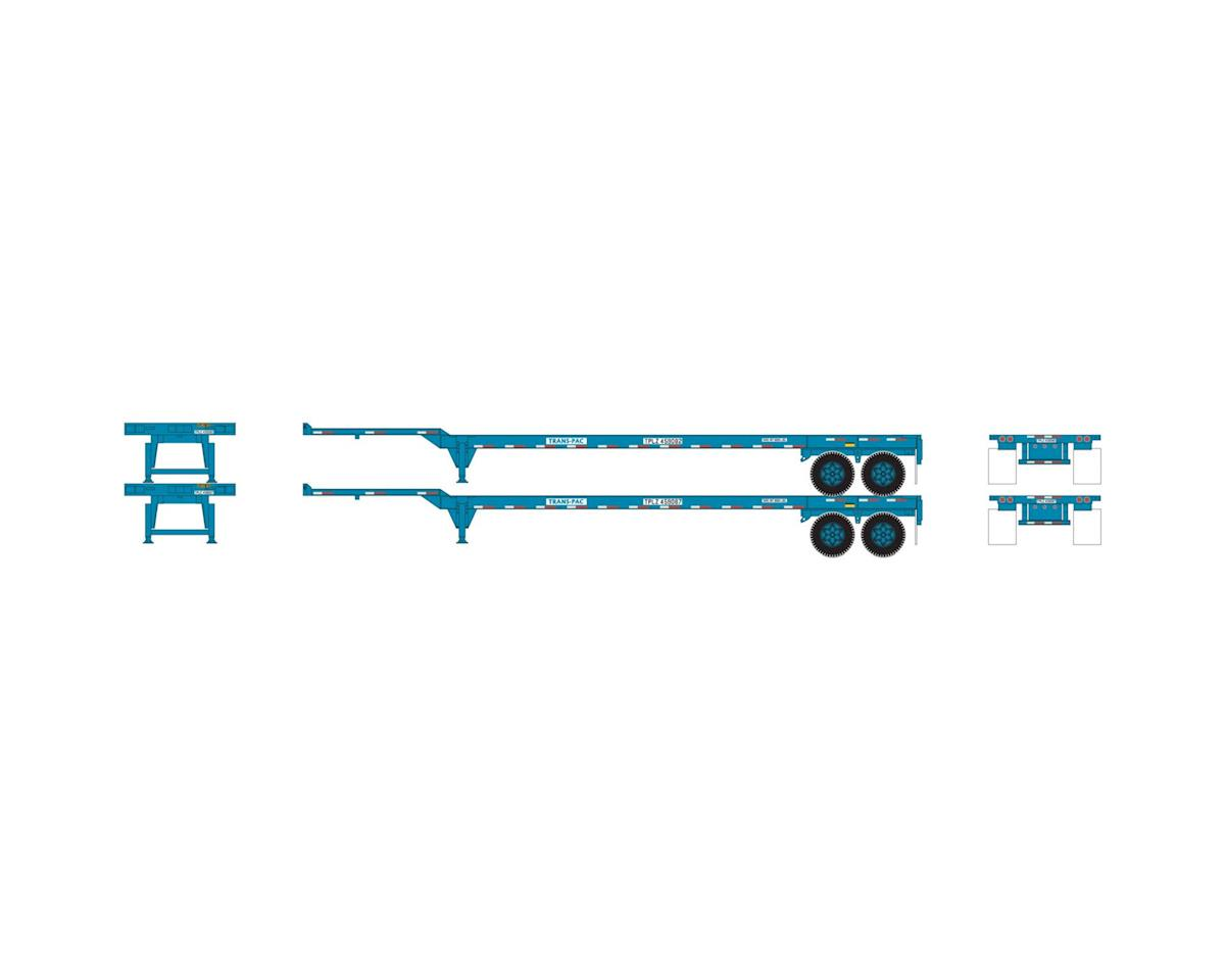 Athearn HO RTR 45' Container Chassis, TransPac (2)