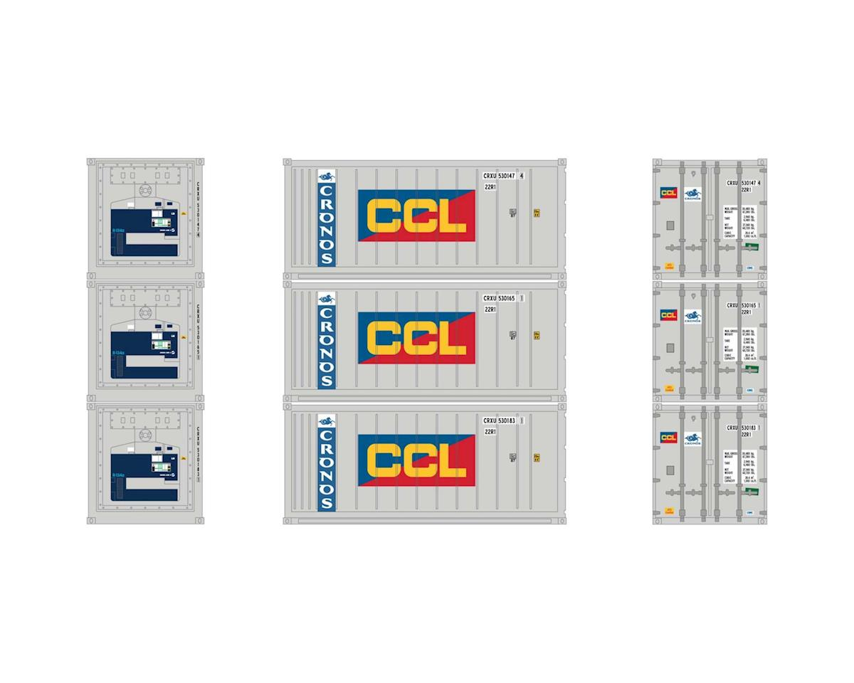 Athearn HO RTR 20' Reefer Container, Cronos/CCL (3)