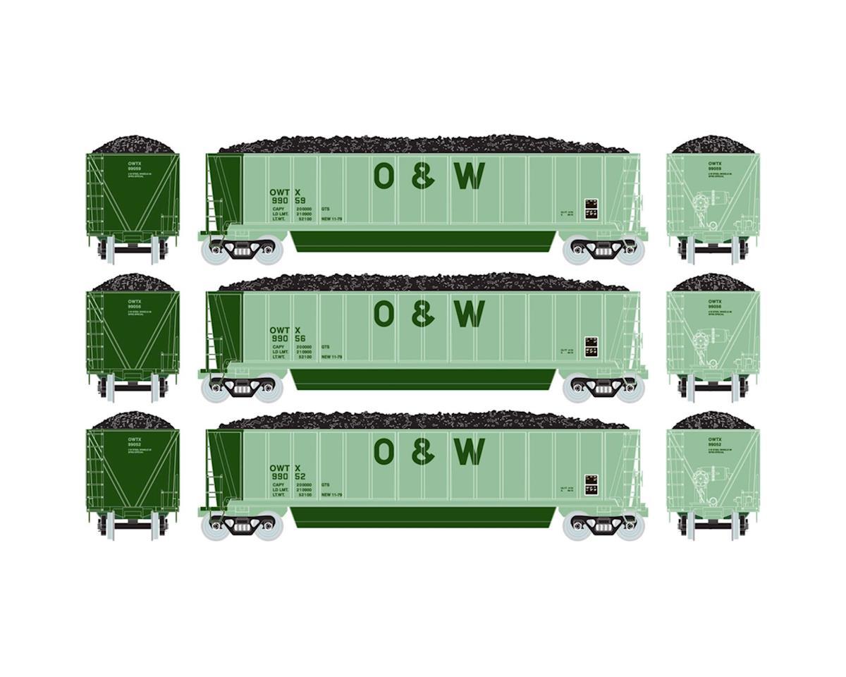 HO RTR Bathtub Gondola w/Coal Load, O&W #3 (3) by Athearn