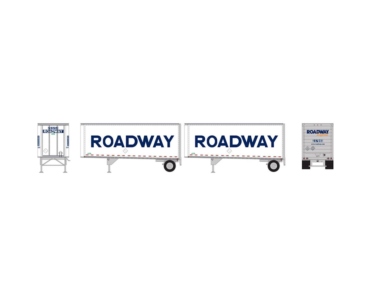 Athearn HO RTR 28' Trailers w/Dolly, Roadway/Smooth  (2)