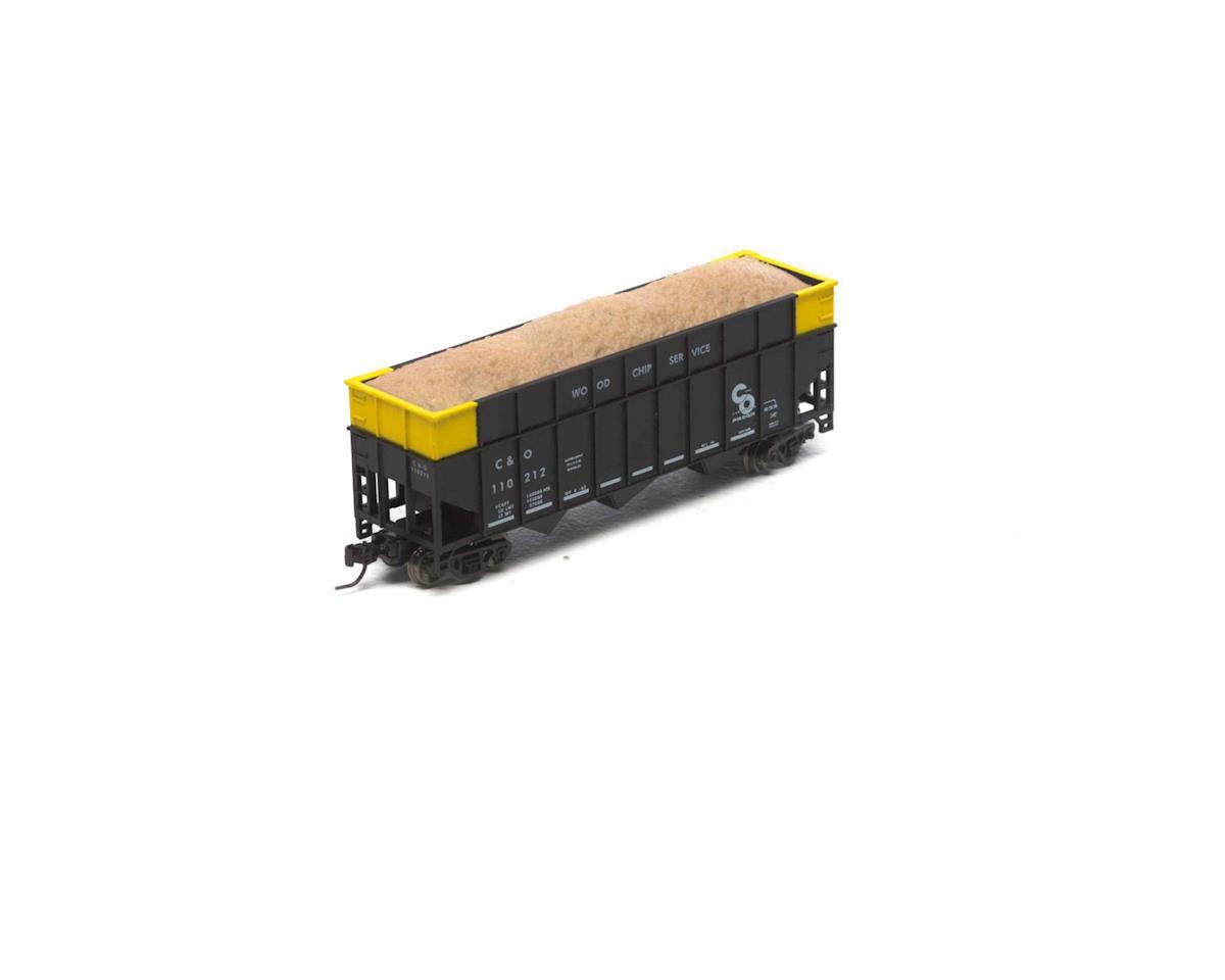 Athearn N 40' Wood Chip Hopper w/Load, C&O #110212