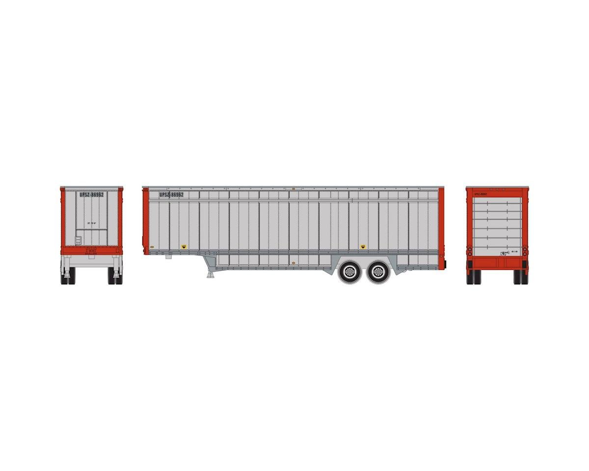 Athearn N 40' Drop Sill Parcel Trailer,UPS/Red Ends #86962
