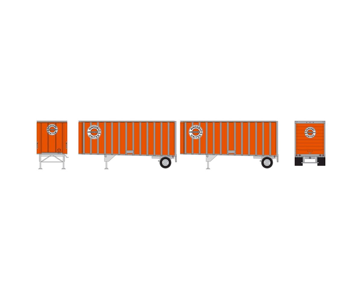 Athearn HO RTR 28' Trailers w/Dolly, Ringsby (2)