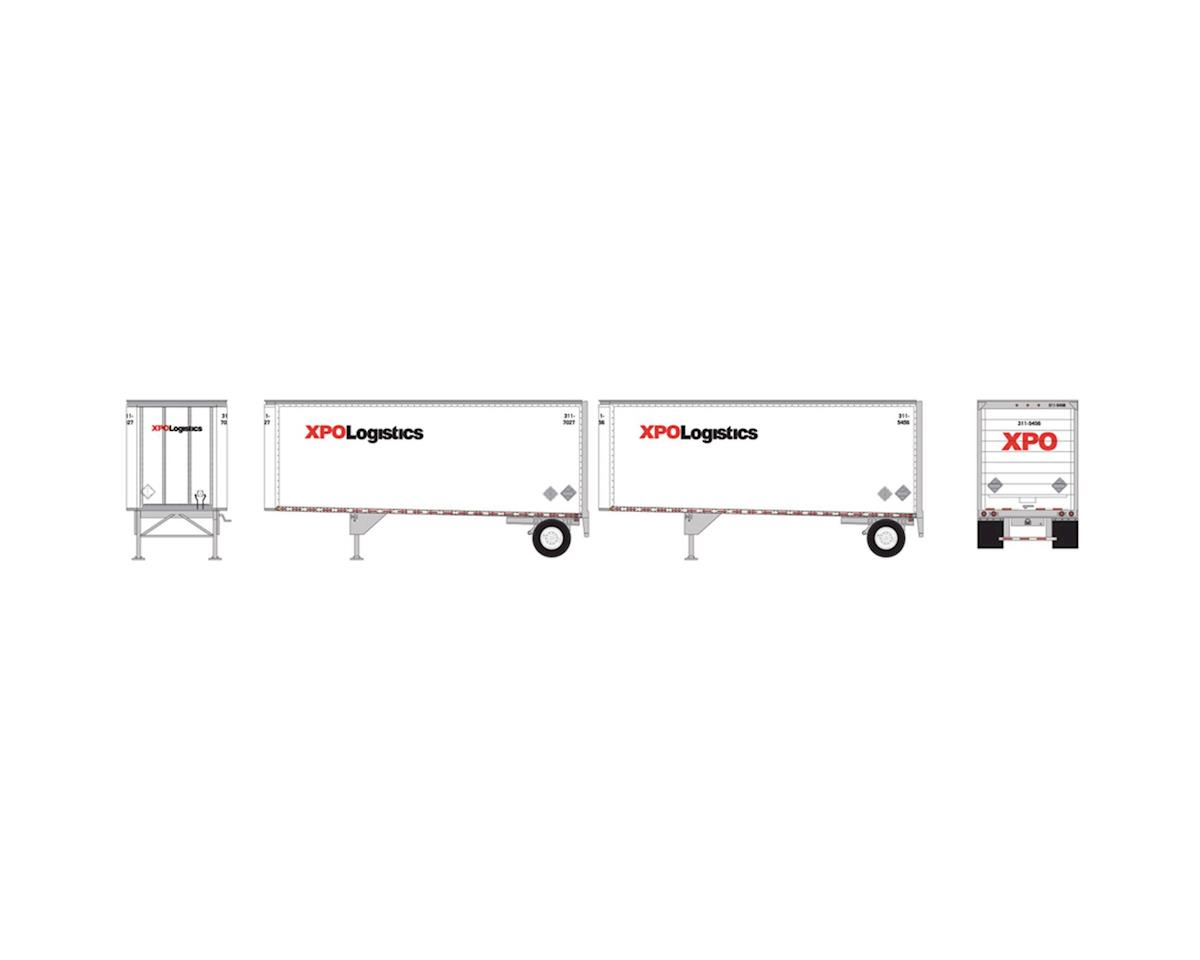 Athearn HO RTR 28' Trailers w/Dolly, XPO  (2)