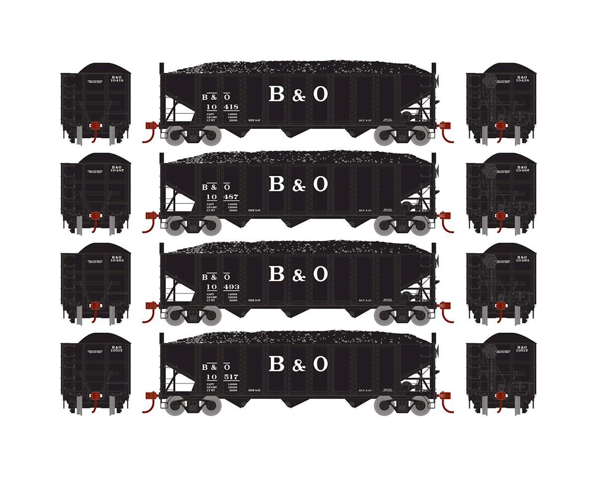 Athearn HO RTR 40' 3-Bay Ribbed Hopper w/Load, B&O #2 (4)