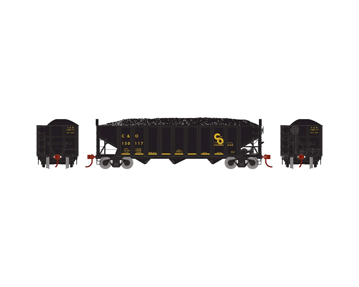 Athearn HO RTR 40' 3-Bay Ribbed Hopper w/Load, C&O #150117