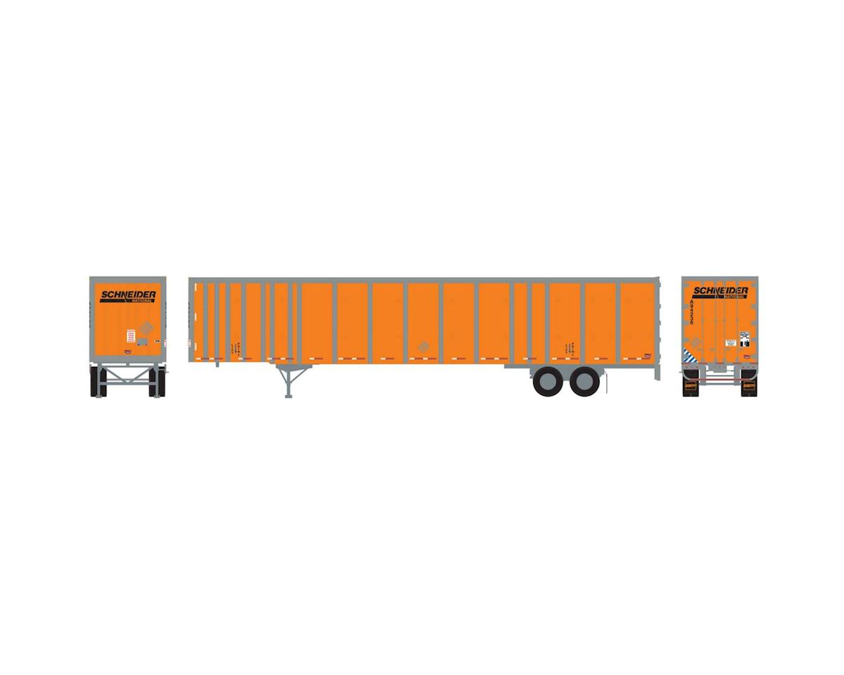 Athearn HO RTR 53' Wabash Plate Trailer, Schneider #A94236