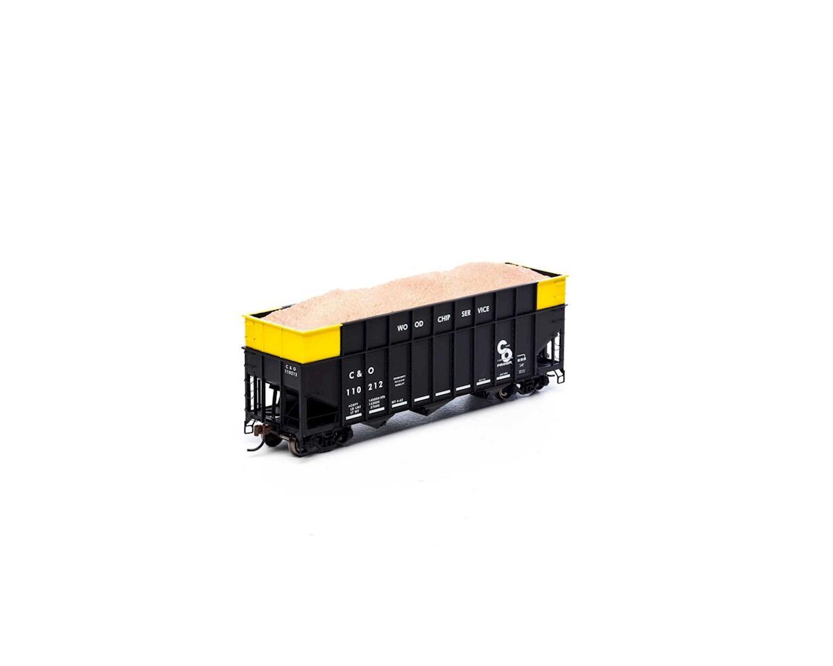 Athearn HO RTR 40' Wood Chip Hopper w/Load, C&O #110212