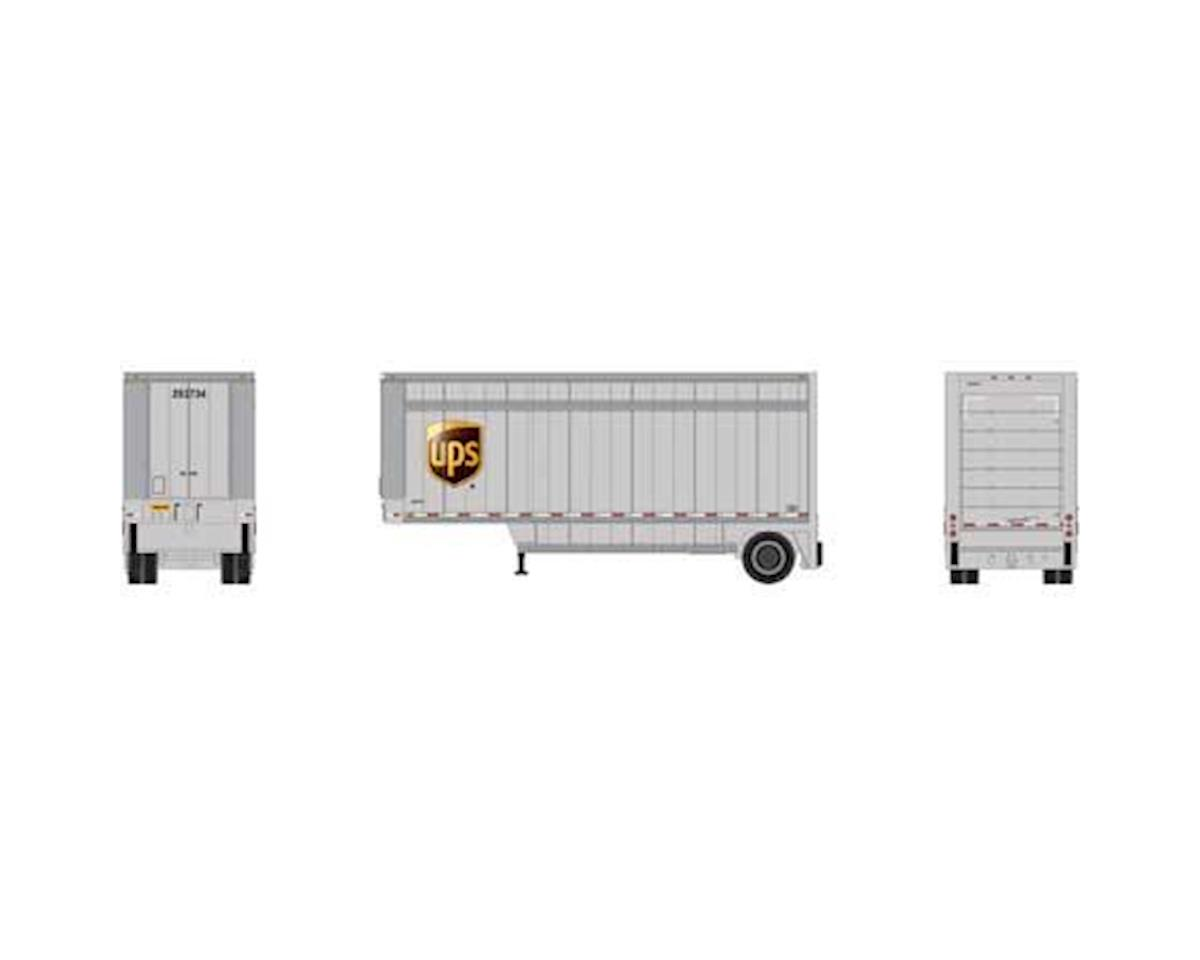 Athearn HO RTR 28' Drop Sill Trailer, UPS w/Shield #293734
