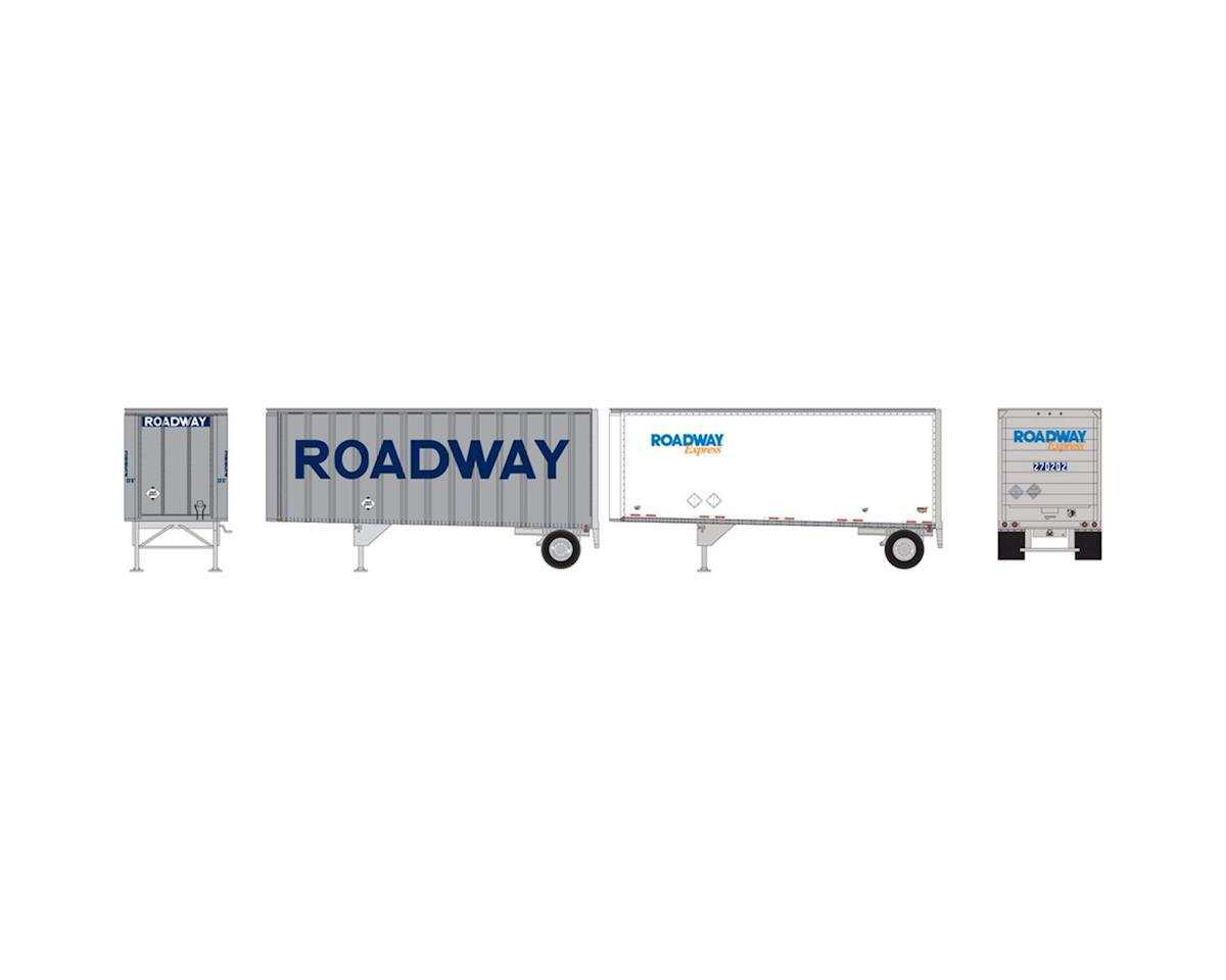 Athearn HO RTR 28' Trailers w/Dolly, Roadway/Express (2)