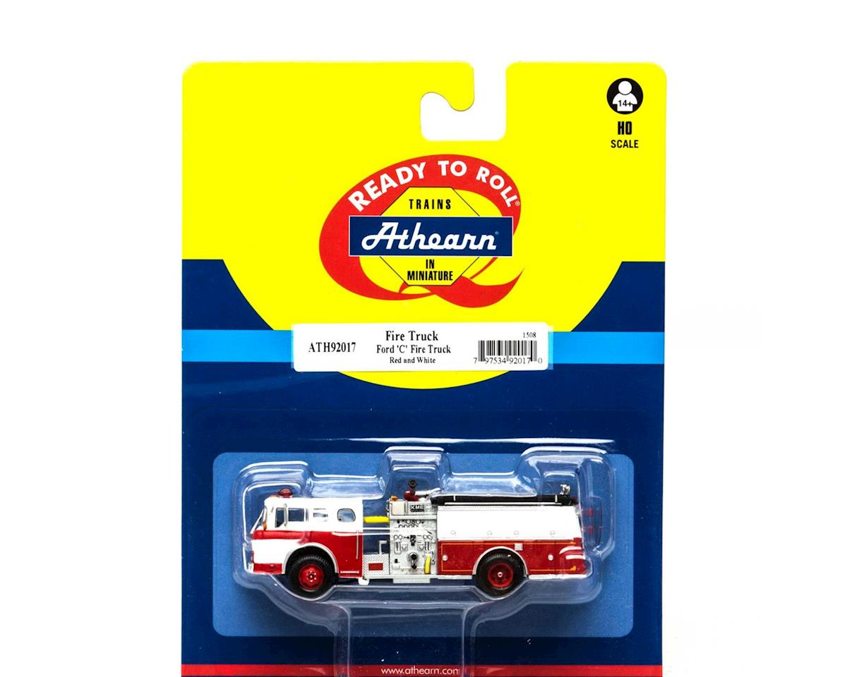 Athearn HO RTR Ford C Fire Truck, Red&Wht