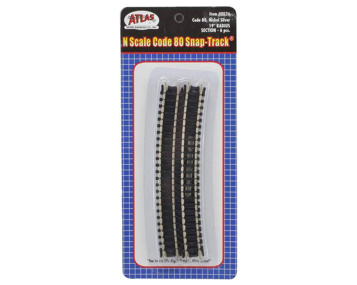 "Atlas Model Railroad N-Gauge Code 80 Snap-Track 19"" Radius Curve (6)"