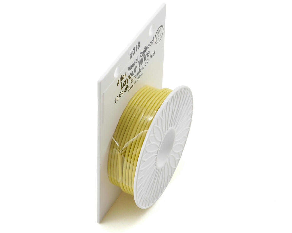 Atlas Model Railroad 20 Gauge Stranded Layout Wire (Yellow) (50')