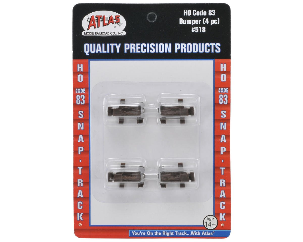 HO-Gauge Code 83 Snap-Track Bumpers (4) by Atlas Railroad