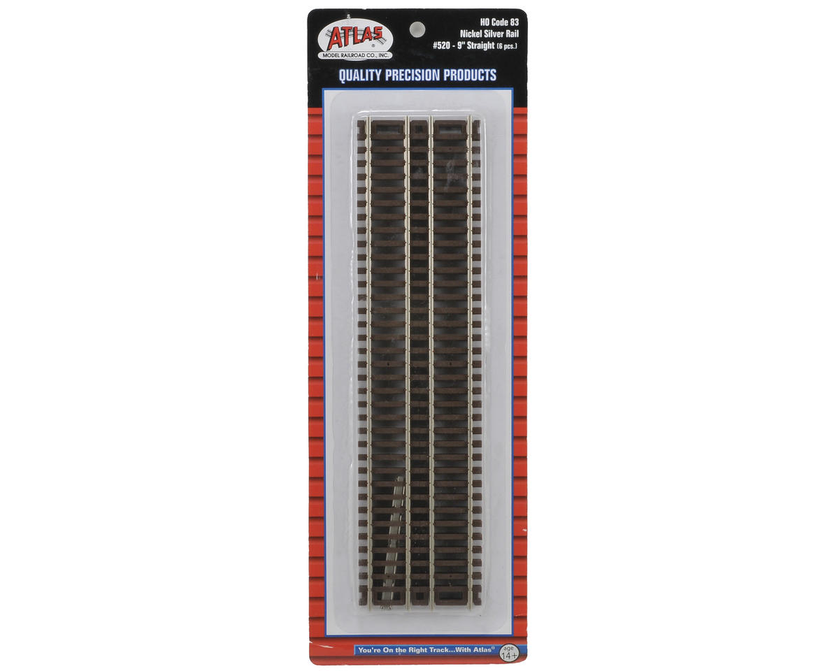 "HO-Gauge Code 83 Snap-Track 9"" Straight (6) by Atlas Railroad"