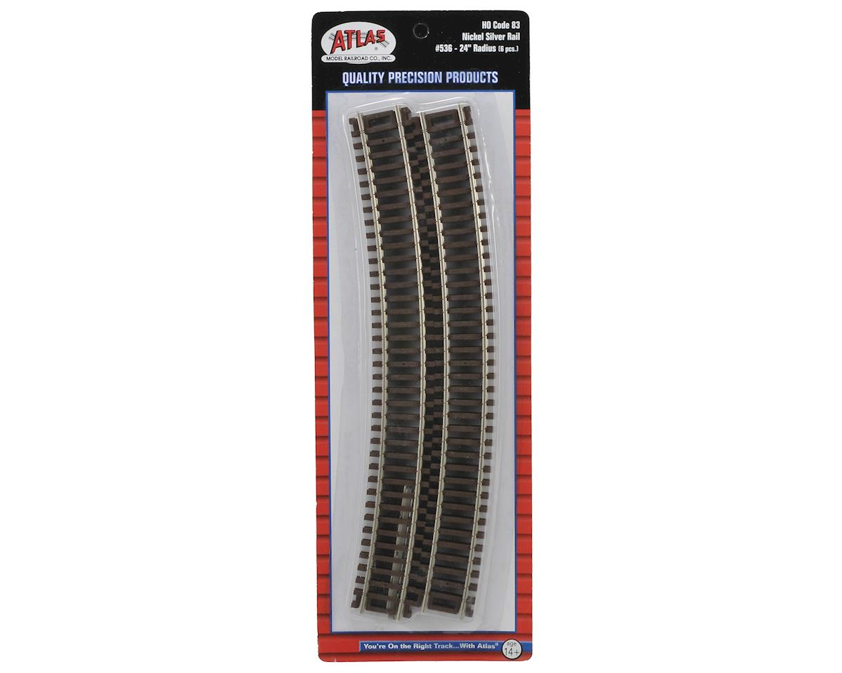 "HO-Gauge Code 83 Snap-Track 24"" Radius Curve (6) by Atlas Railroad"