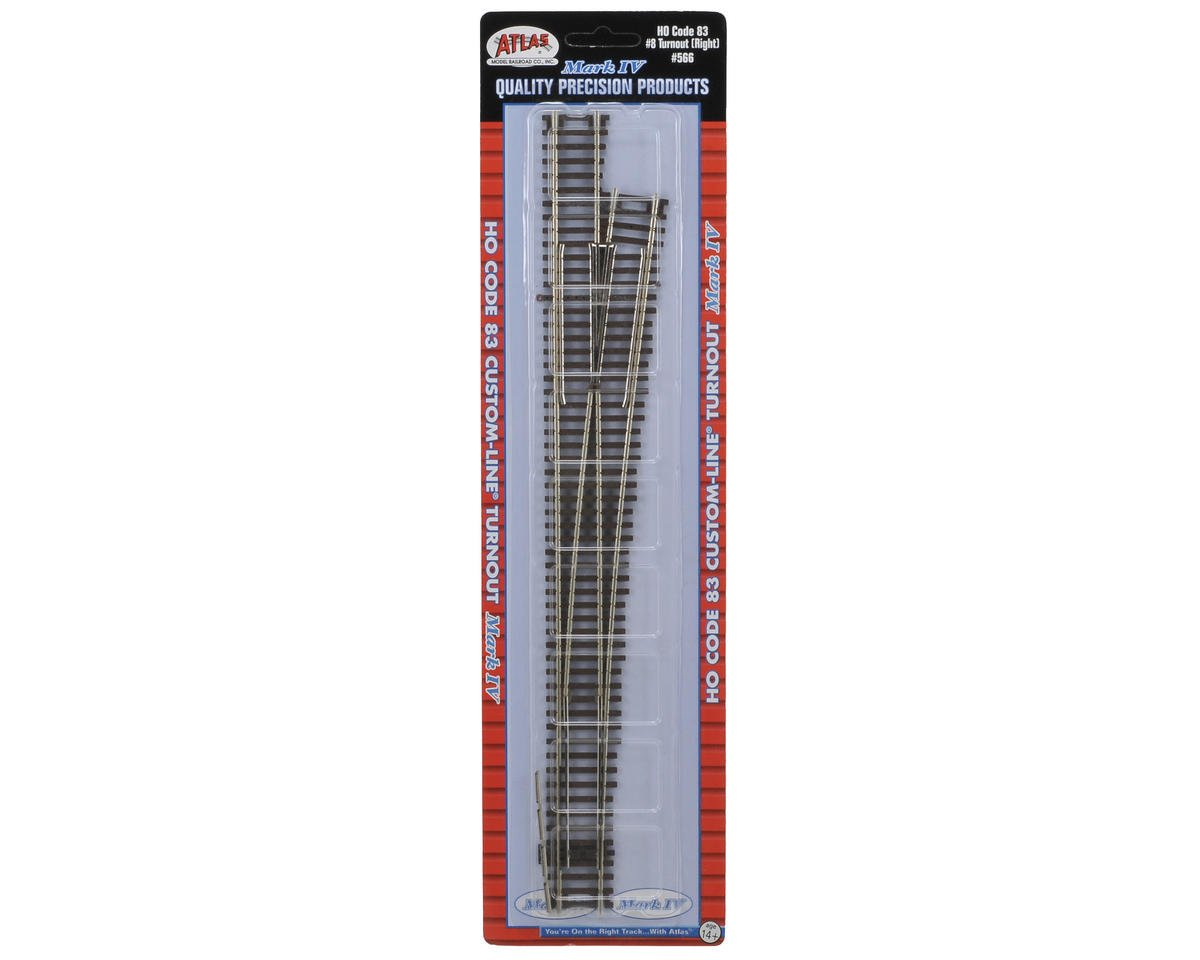 HO-Gauge Code 83 Custom Line #8 Right-Hand Turnout by Atlas Railroad