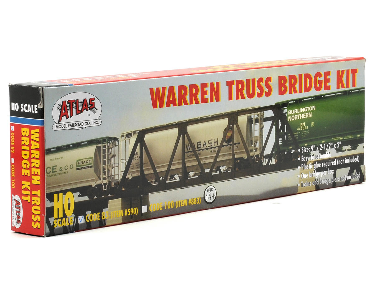 Atlas Railroad HO-Gauge Code 83 Snap-Track Warren Truss Bridge