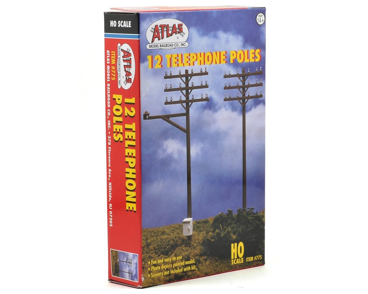 Atlas Railroad HO-Scale Telephone Poles (12)