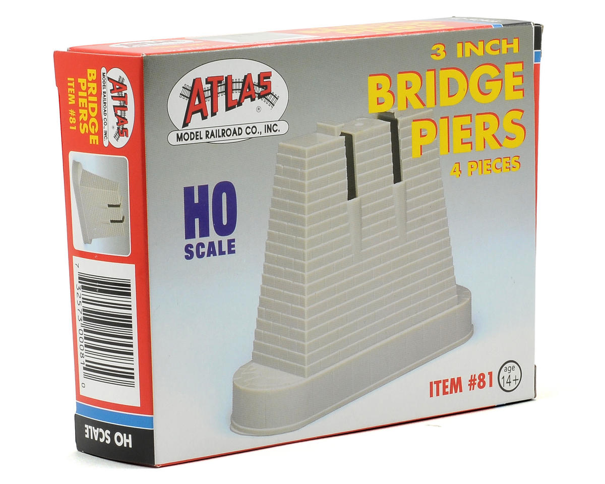 "Atlas Railroad HO-Scale 3"" Bridge Pier Set (4)"
