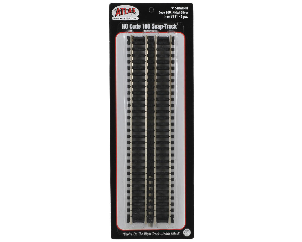 "Atlas Model Railroad HO-Scale Code 100 9"" Straight Track (6) (Nickel Silver)"