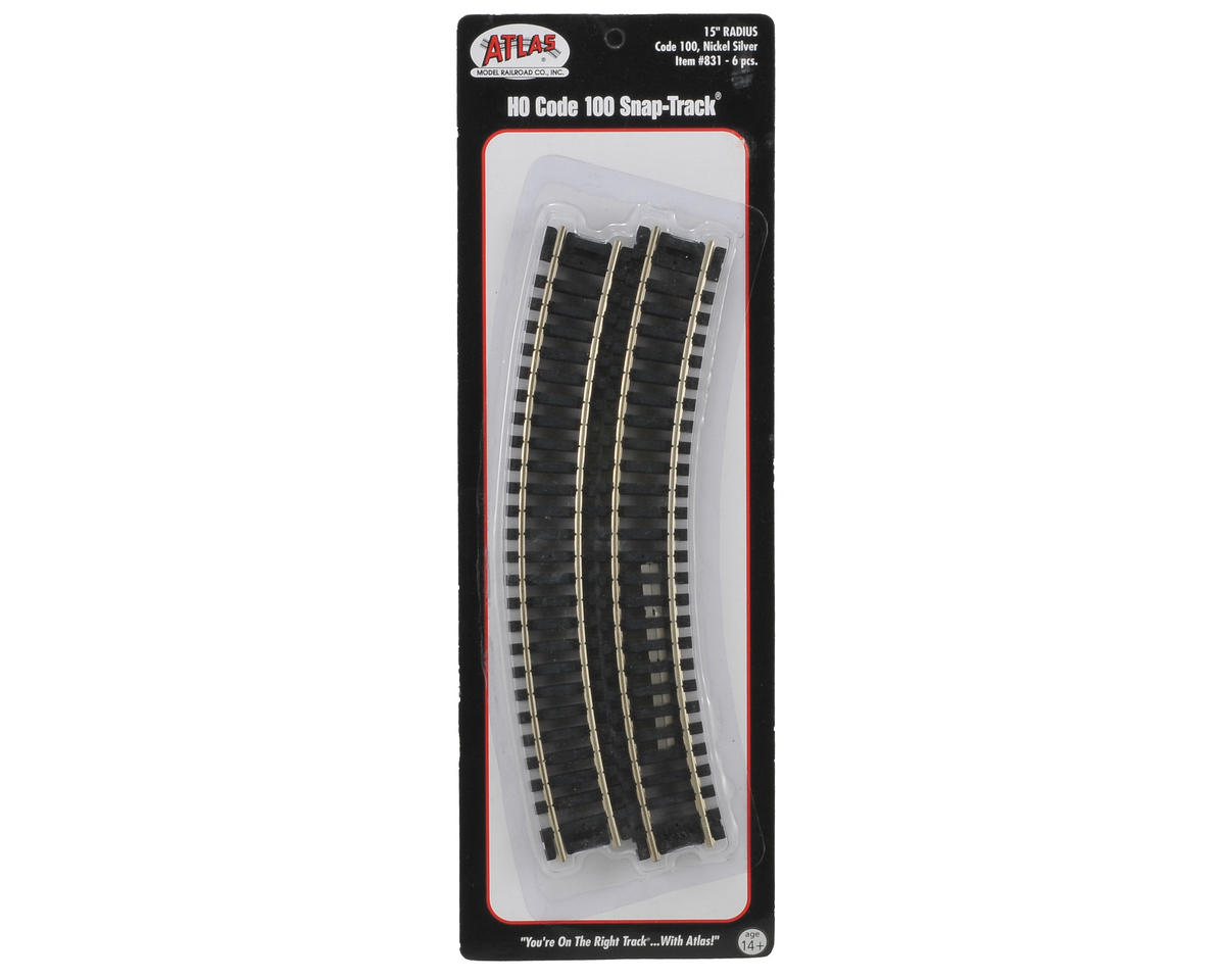 "HO-Gauge Code 100 Snap-Track 15"" Radius Curve (6) by Atlas Railroad"