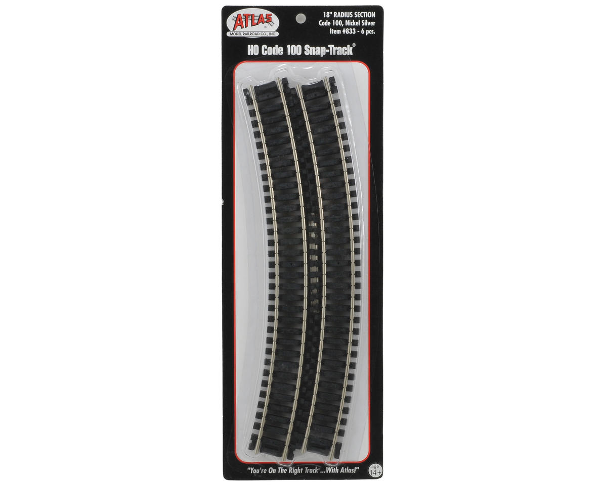 "Atlas Model Railroad HO-Gauge Code 100 Snap-Track 18"" Radius Curve (6)"