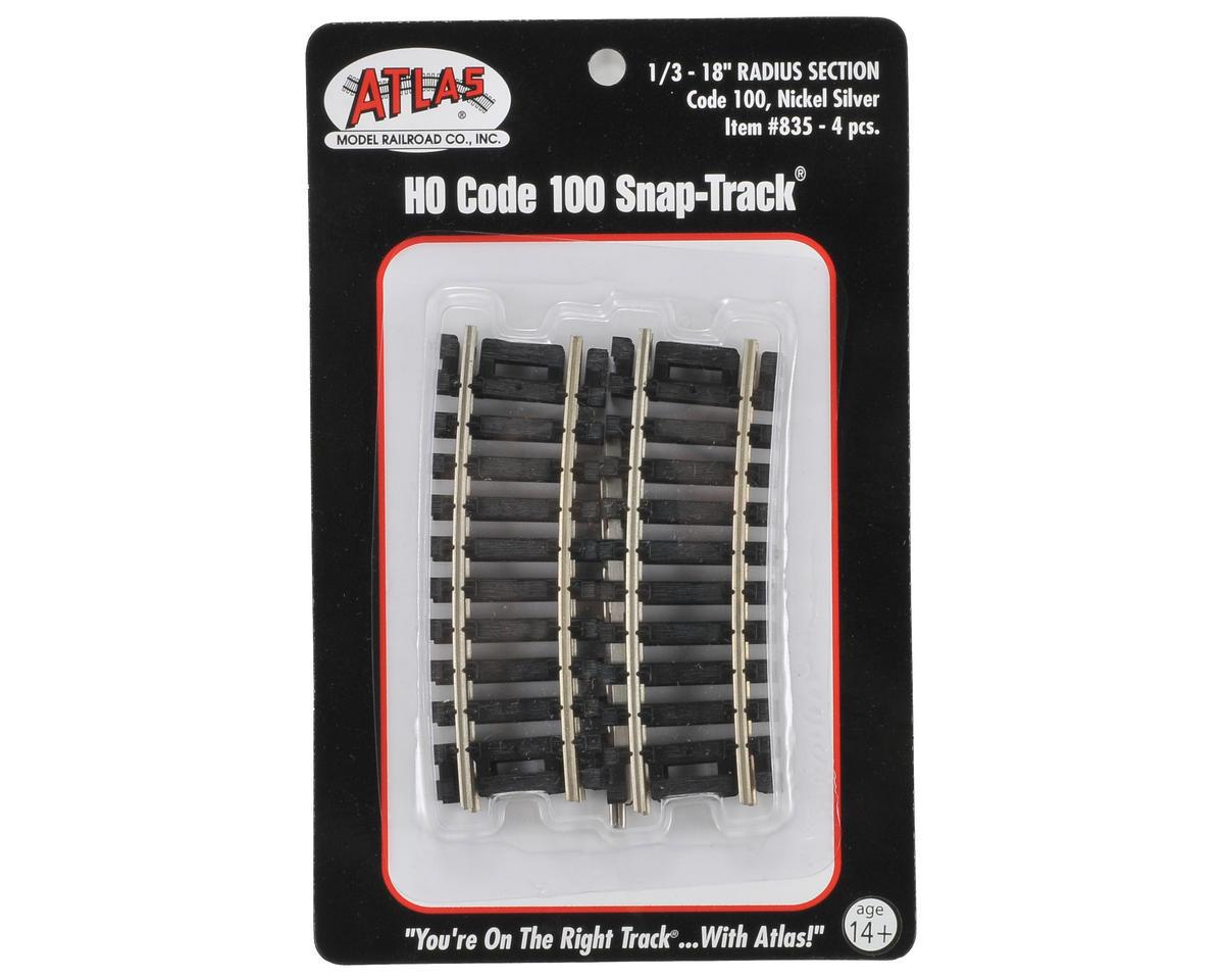 "Atlas Railroad HO-Gauge Code 100 Snap-Track 18"" Radius 1/3 Curve (4)"