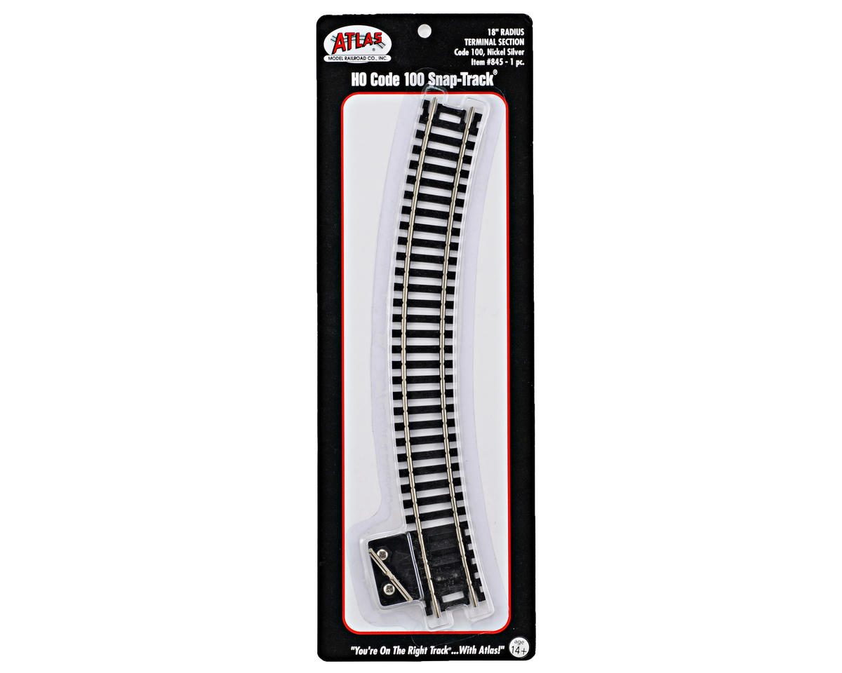 "Atlas Model Railroad HO-Gauge Code 100 Snap-Track 18"" Radius Curve Terminal"