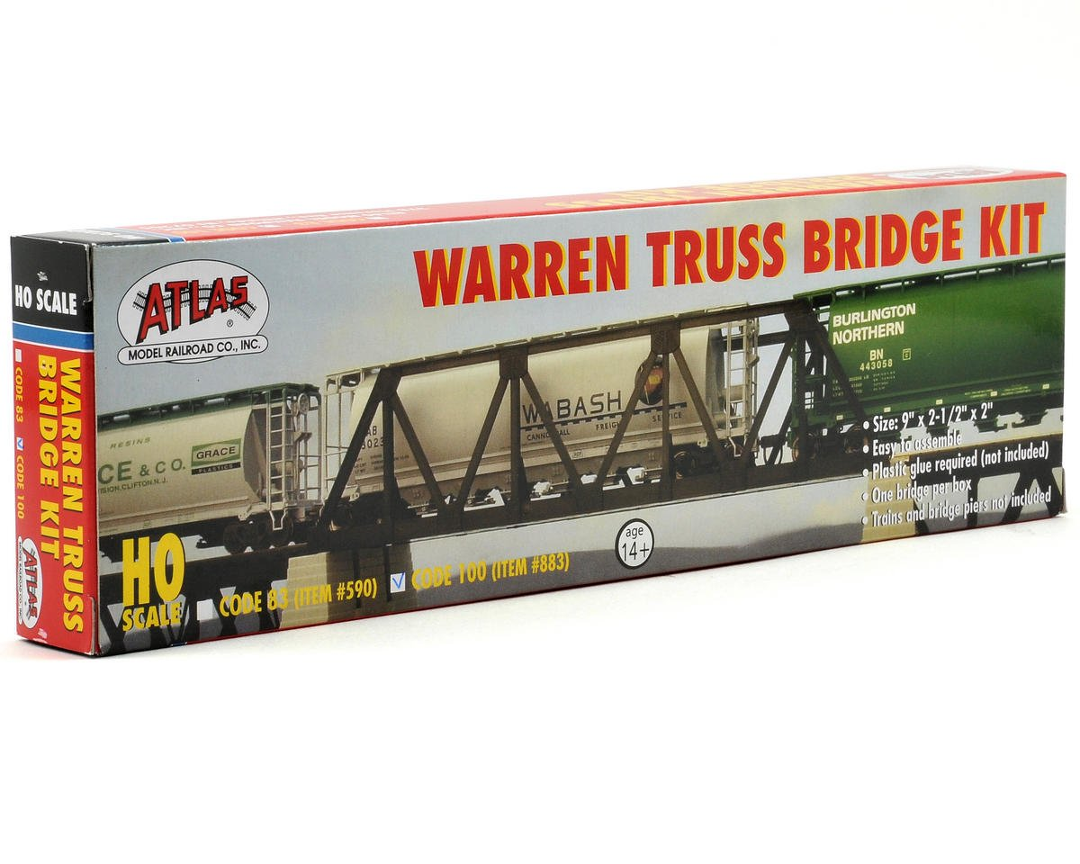Atlas Railroad HO-Gauge Code 100 Snap-Track Warren Truss Bridge