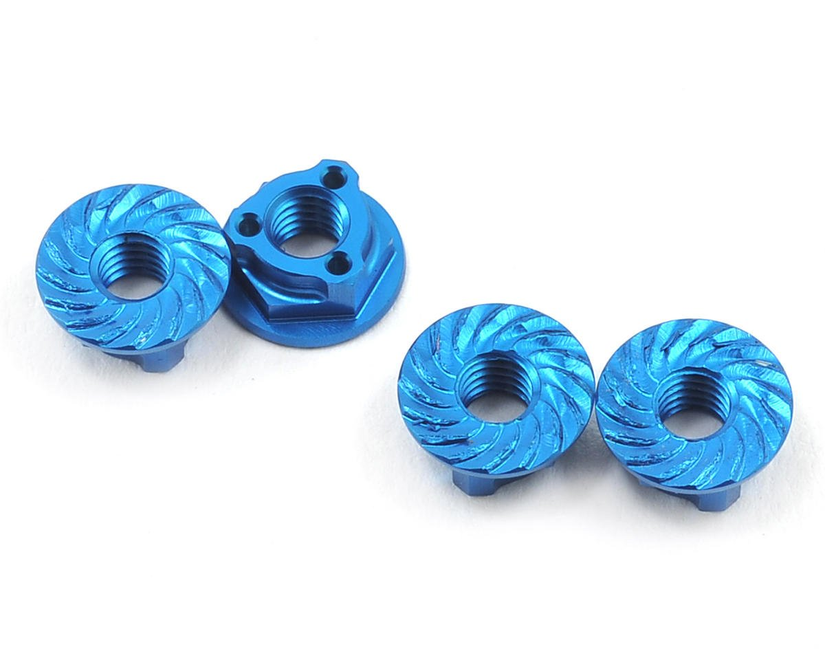 Avid RC Triad 4mm Light Weight Serrated Wheel Nut Set (4) (Blue) (Kyosho Ultima RT6)