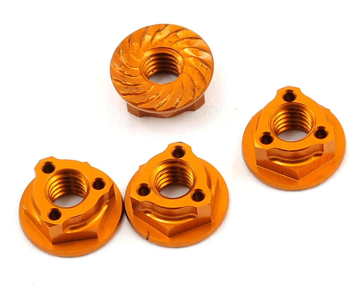 Avid RC Triad 4mm Light Weight Serrated Wheel Nut Set (4) (Orange) (Team Associated TC6)