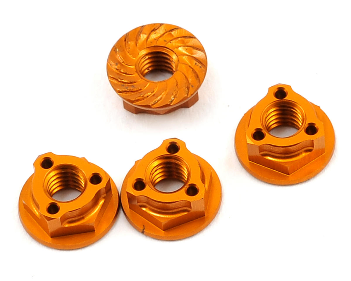 Avid RC Triad 4mm Light Weight Serrated Wheel Nut Set (4) (Orange) (Team Associated TC6.2)