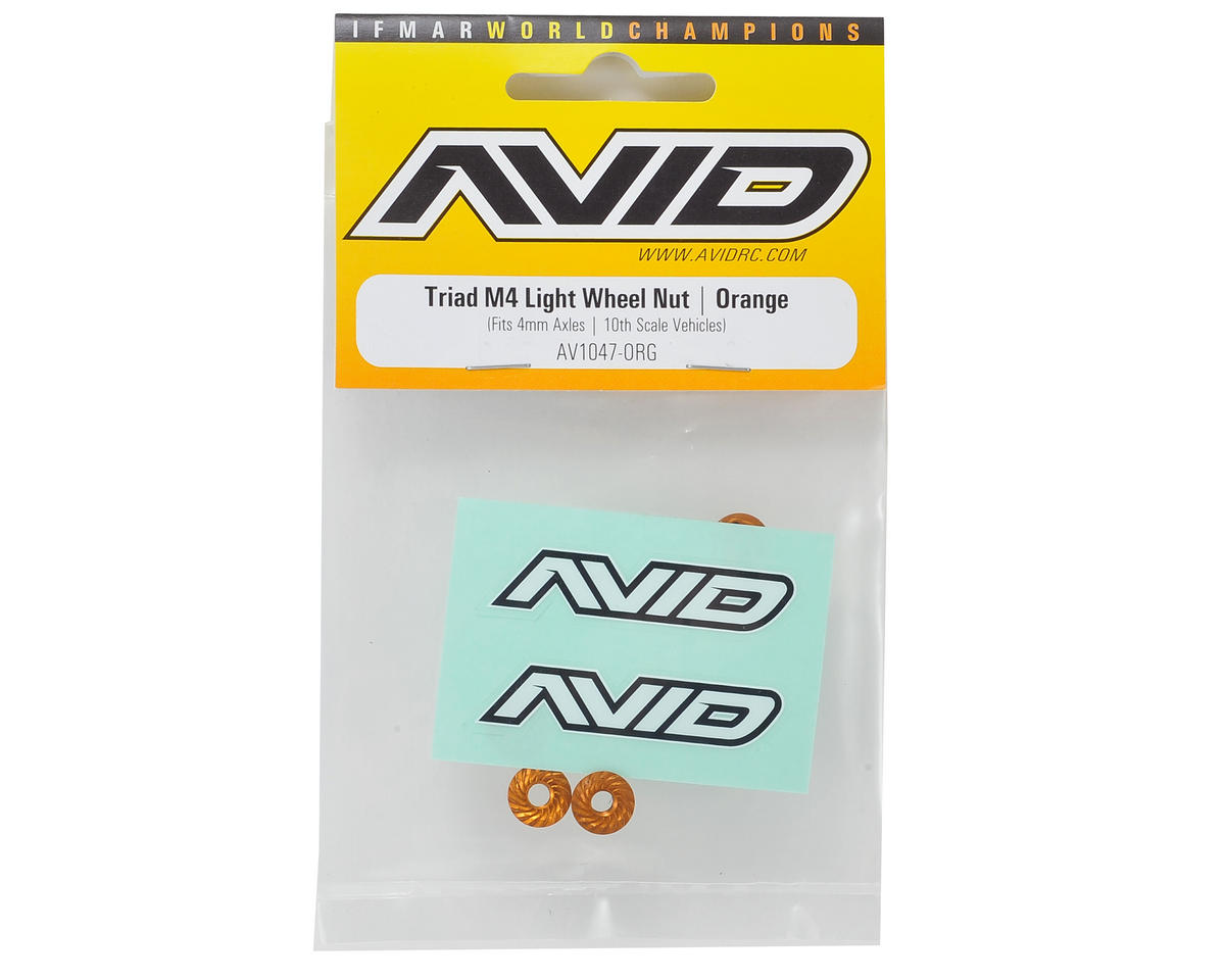 Avid RC Triad 4mm Light Weight Serrated Wheel Nut Set (4) (Orange)