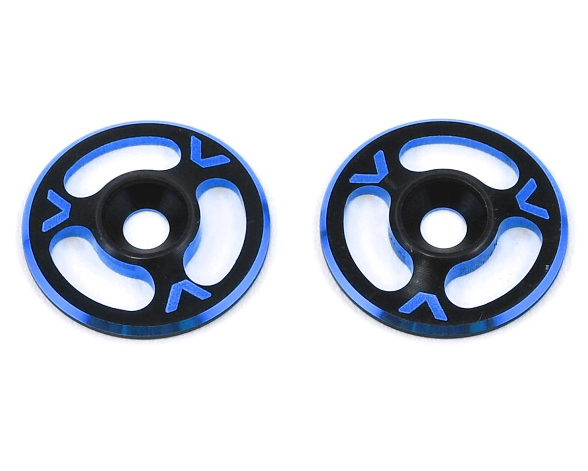 Avid RC Triad Wing Mount Buttons (2) (Black/Blue) (HB Racing D8)