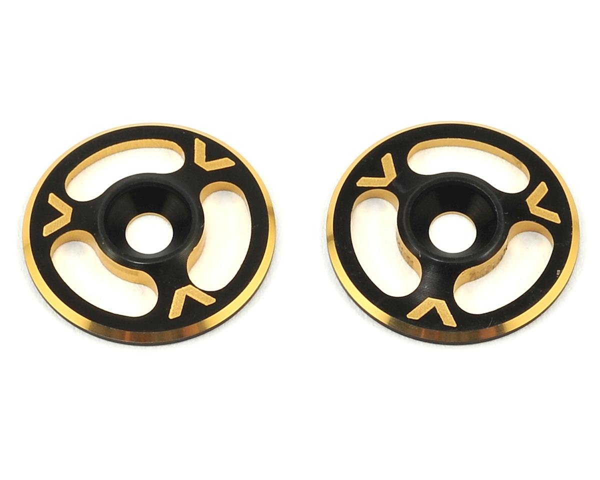 Avid RC Triad Wing Mount Buttons (2) (Black/Gold) (HB Racing Ve8)