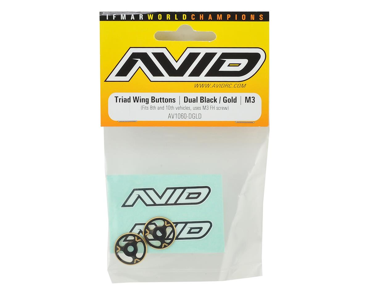Avid RC Triad Wing Mount Buttons (2) (Black/Gold)