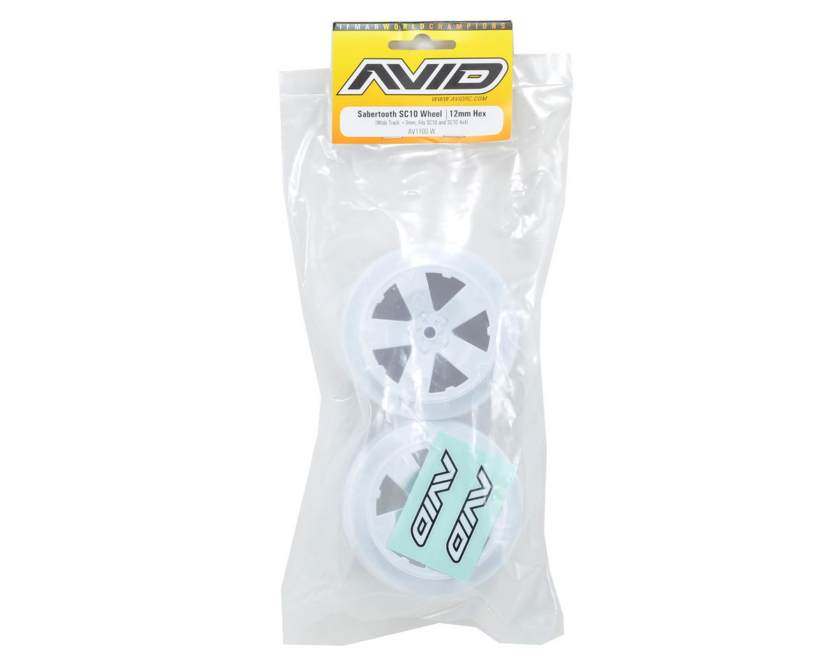 Avid RC Sabertooth Short Course Wheels w/3mm Offset (White) (2) (SC5M)