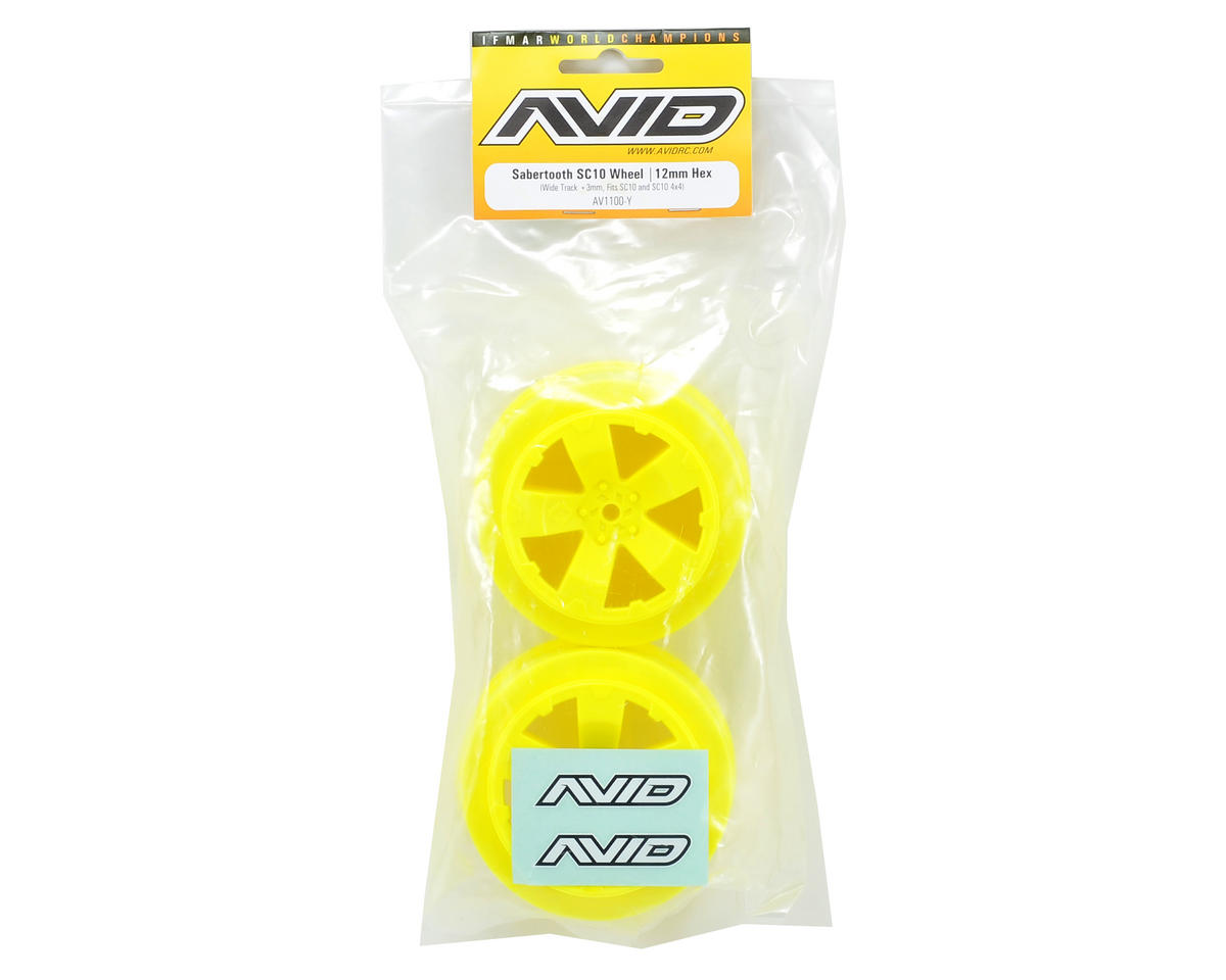 Sabertooth Short Course Wheels w/3mm Offset (Yellow) (2) (SC5M) by Avid RC