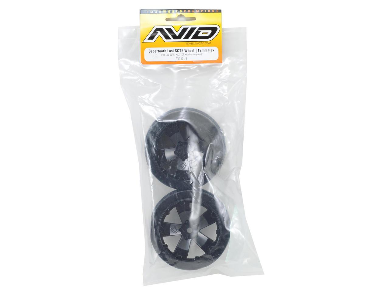 "12mm Hex ""Sabertooth"" Short Course Wheels (Black) (2) (22SCT/TEN-SCTE) by Avid RC"