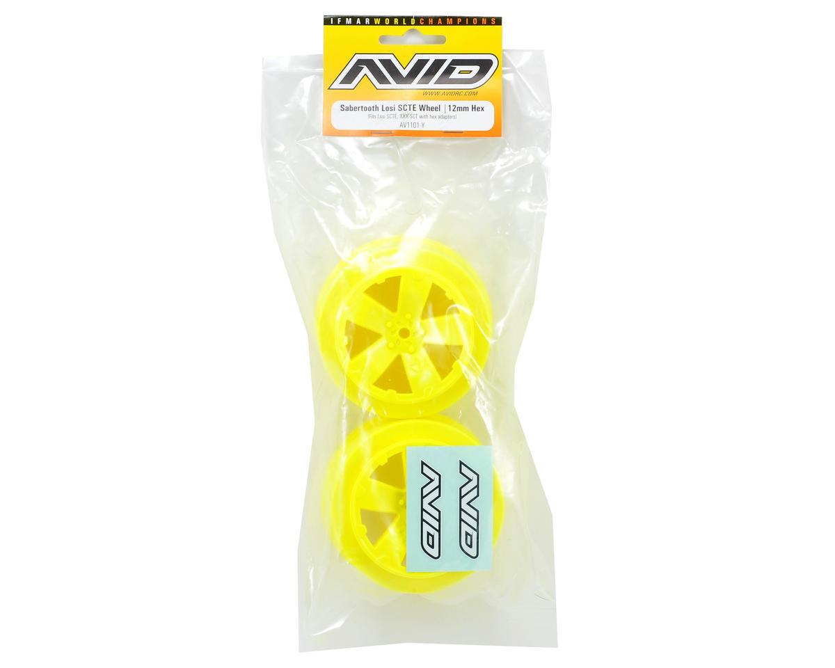 "12mm Hex ""Sabertooth"" Short Course Wheels (Yellow) (2) (22SCT/TEN-SCTE) by Avid RC"