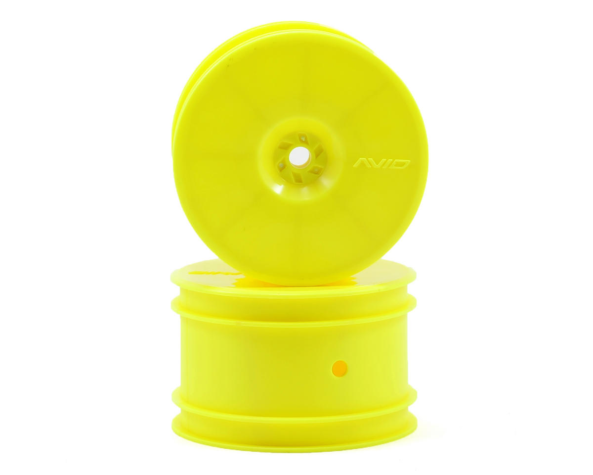 "Avid RC 12mm Hex Satellite 2.2"" Rear Buggy Wheels (Yellow) (2) (B6/22/RB6/ZX6) (Kyosho Lazer ZX-5)"